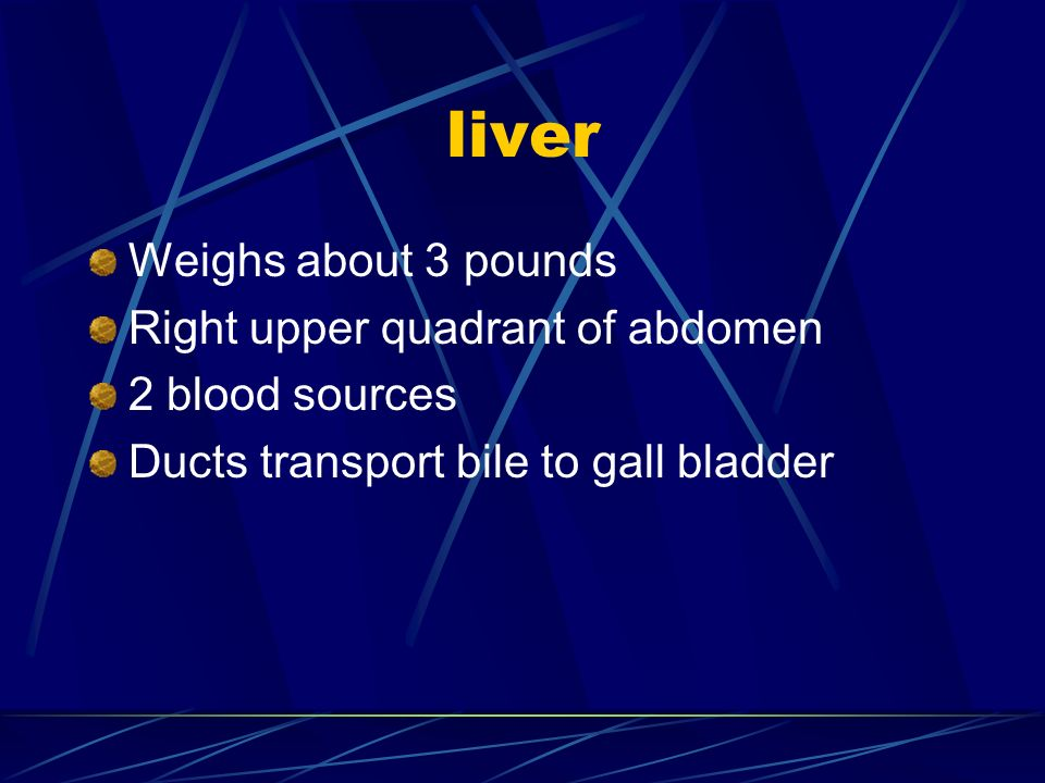 liver Weighs about 3 pounds Right upper quadrant of abdomen