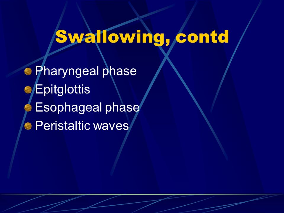 Swallowing, contd Pharyngeal phase Epitglottis Esophageal phase