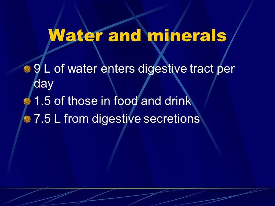 Water and minerals 9 L of water enters digestive tract per day