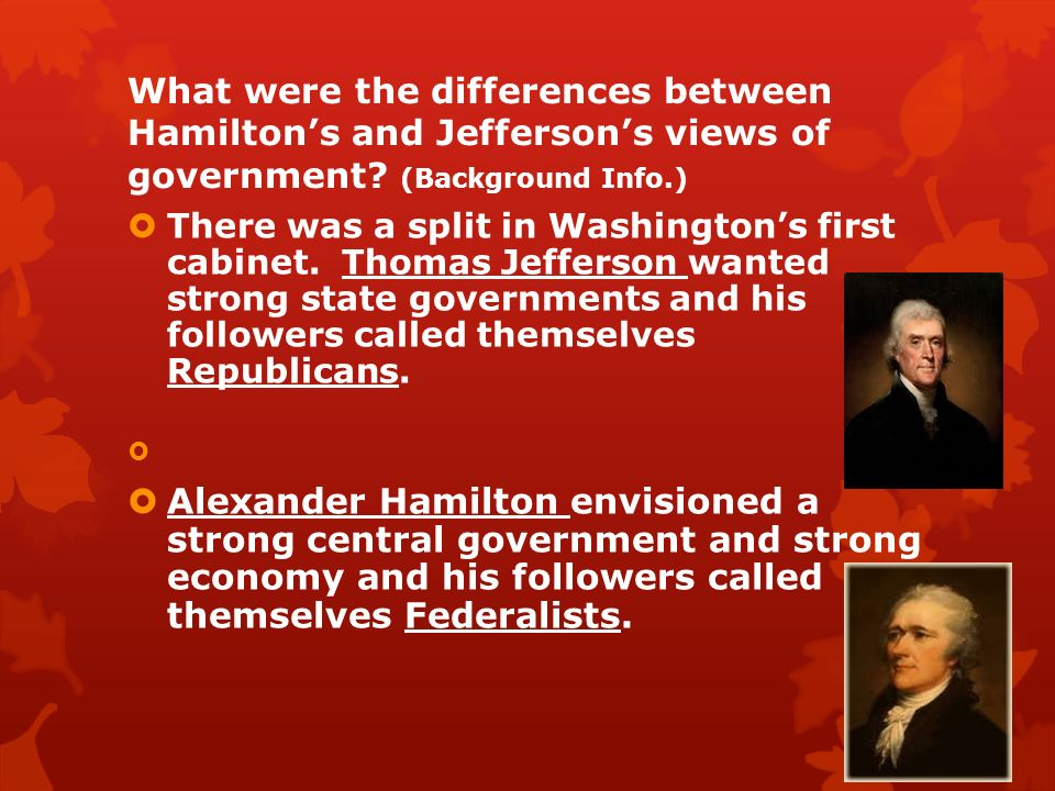 a comparison between alexander hamilton and thomas jefferson Hamilton vs jefferson | thomas jefferson vs alexander hamilton hamilton and jefferson were popular members of the society in the period after the revolution.