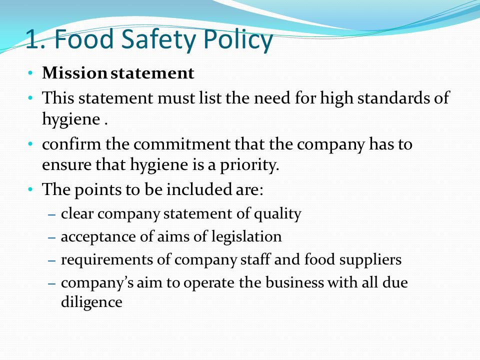 Food Safety Policy Template  ApigramCom