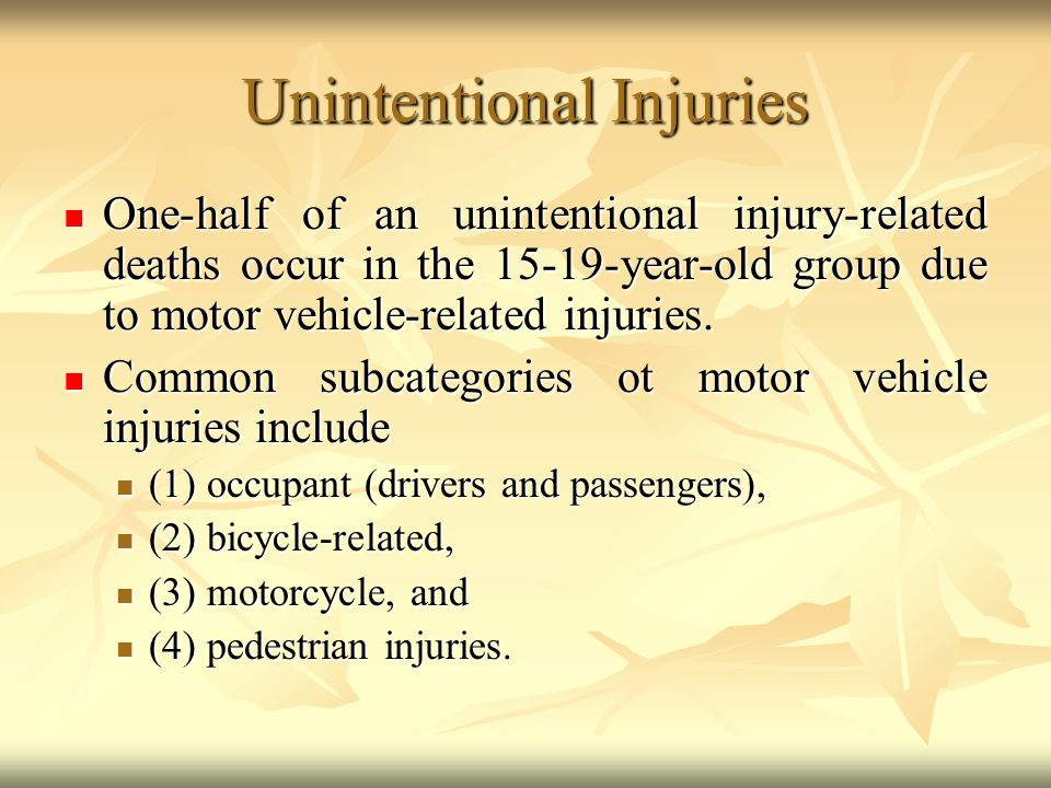 unintentional injuries Prevent unintentional injuries and violence, and reduce their consequences  however, most events resulting in injury, disability, or death are predictable and preventable the injury and violence prevention objectives for 2020 represent a broad range of issues which, if adequately addressed,.