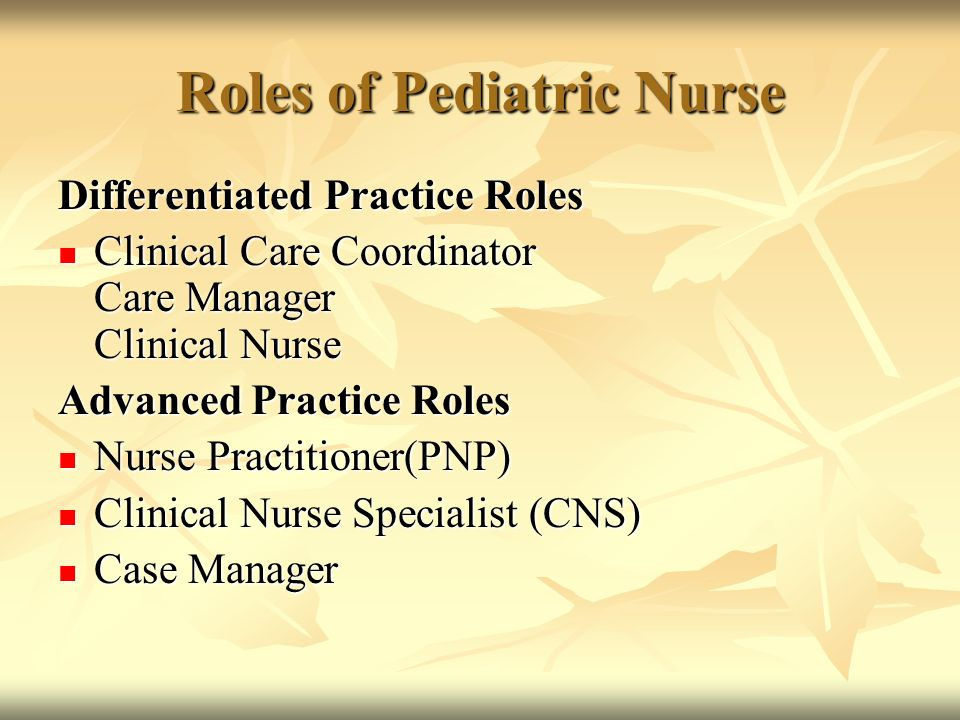 role of a clinical nurse specialist Nursing ms — adult-gerontology clinical nurse specialist  initiate change  prepare to function in the role of the advanced practice nurse upon graduation to.