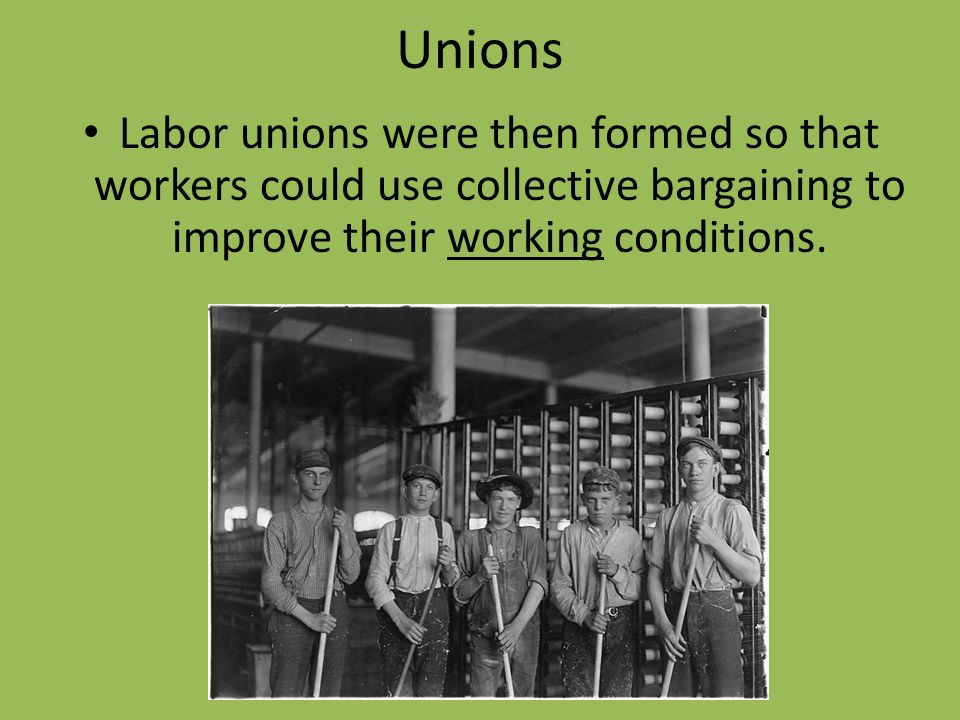 collective bargaining creating better working conditions Collective bargaining is the process of negotiations between the company  to  get around these laws, agency shops were created  wages, health and safety,  management rights, work conditions, and benefits fall into the mandatory  category  prepare and anticipate union demands, to better prepare for  compromises.