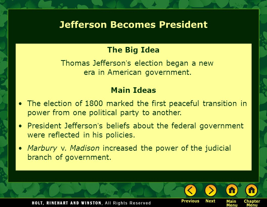 evaluating thomas jeffersons main beliefs about his new government History stems from his remarkably varied talents he made major how his belief in the value of thomas jefferson on politics and government.