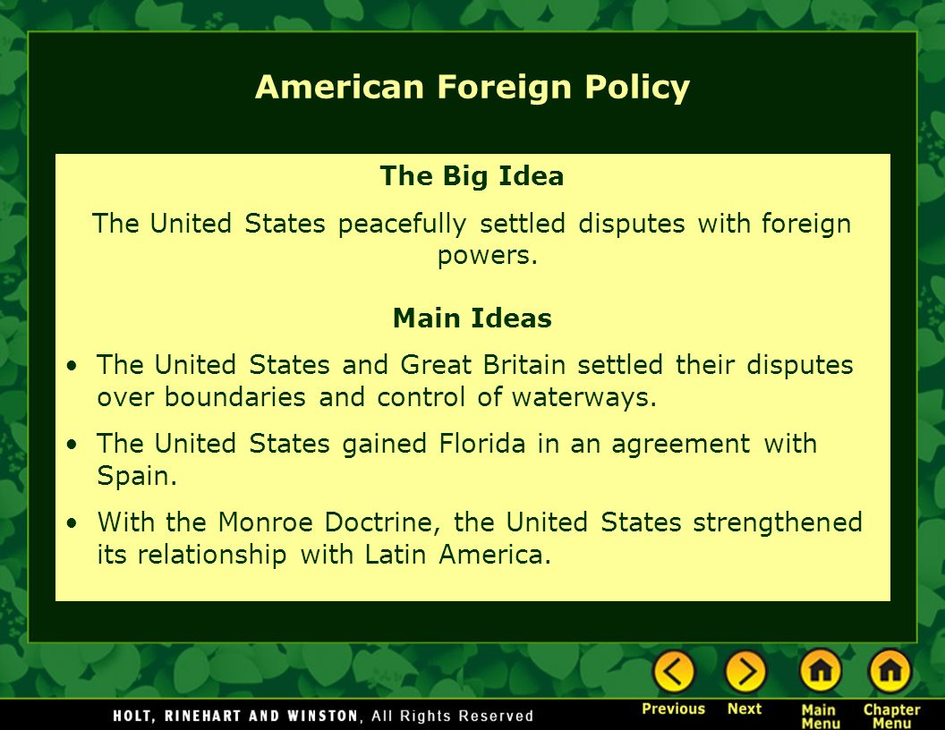 foreign policies of america Researching us foreign policy the department of state is designated to lead in the overall direction, coordination, and supervision of american foreign policy and foreign relations, but records relating to various foreign policy issues are found among the files of other agencies, too.