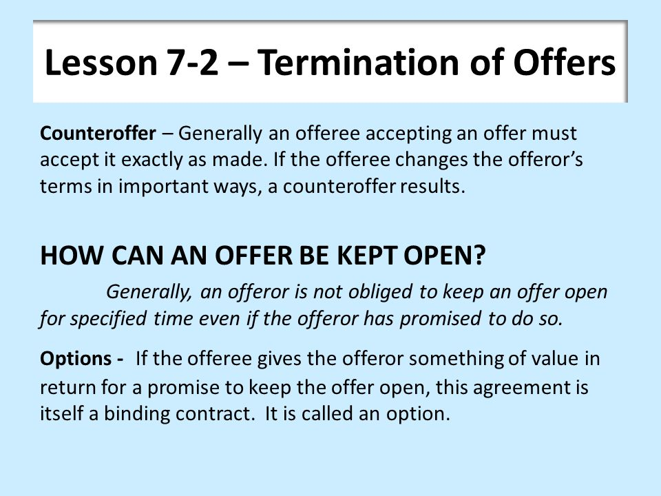 Lesson 7-2 – Termination of Offers