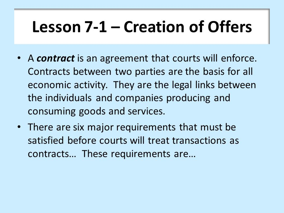 Lesson 7-1 – Creation of Offers