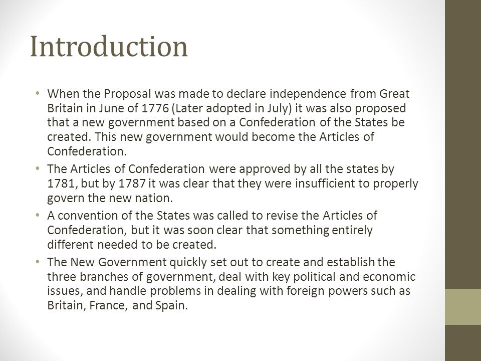 an introduction to the articles of confederation in the united states Two of the most prominent documents to manifest during the american revolution were the articles of confederation and the constitution the articles of confederation was the first successful effort of organizing and mobilizing the original thirteen colonies of the united states.