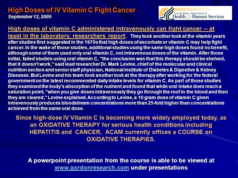 Making History With Vitamin C Powerpoint: Curing The Incurable With Vitamin C