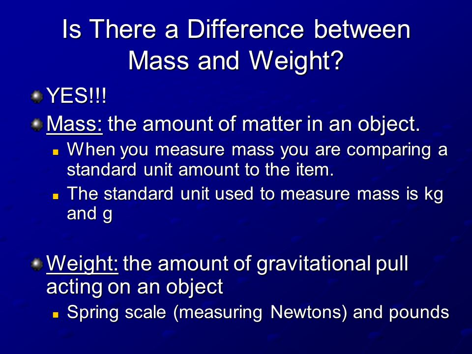 Is There a Difference between Mass and Weight