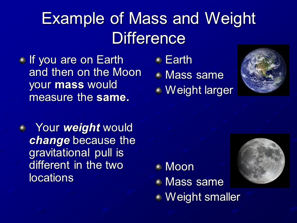 Example of Mass and Weight Difference