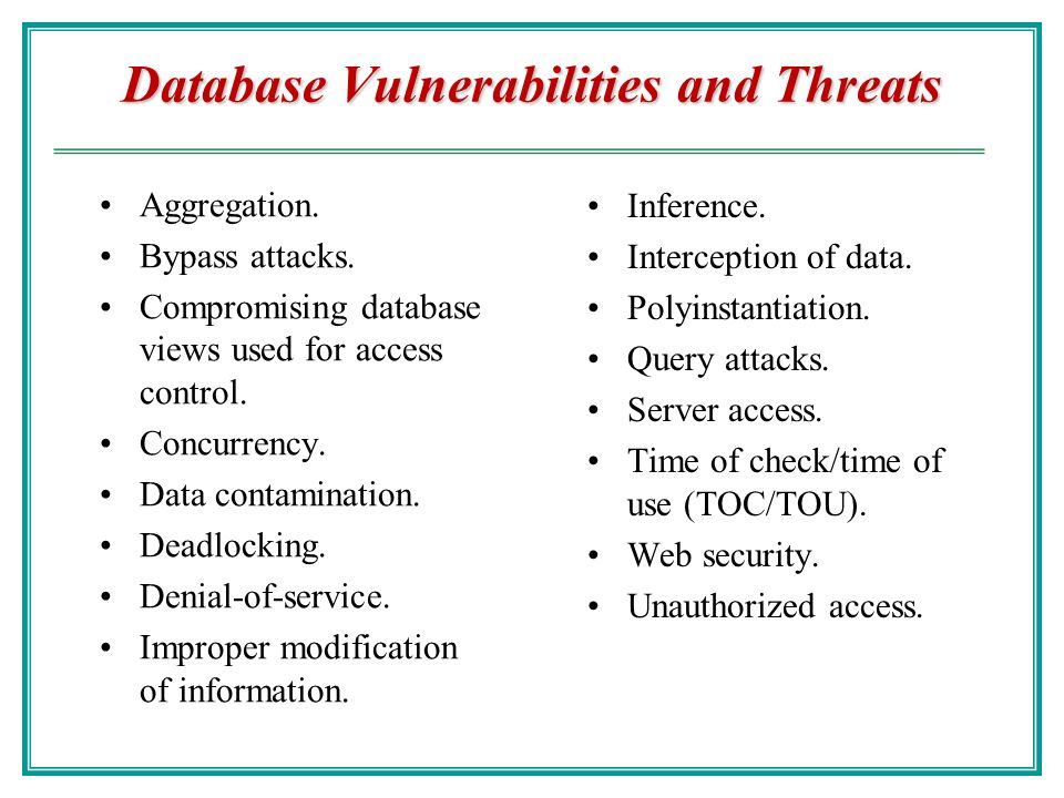 database vulnerabilities Symantec helps consumers and organizations secure and manage their information-driven world our software and services protect against more risks at more points, more.