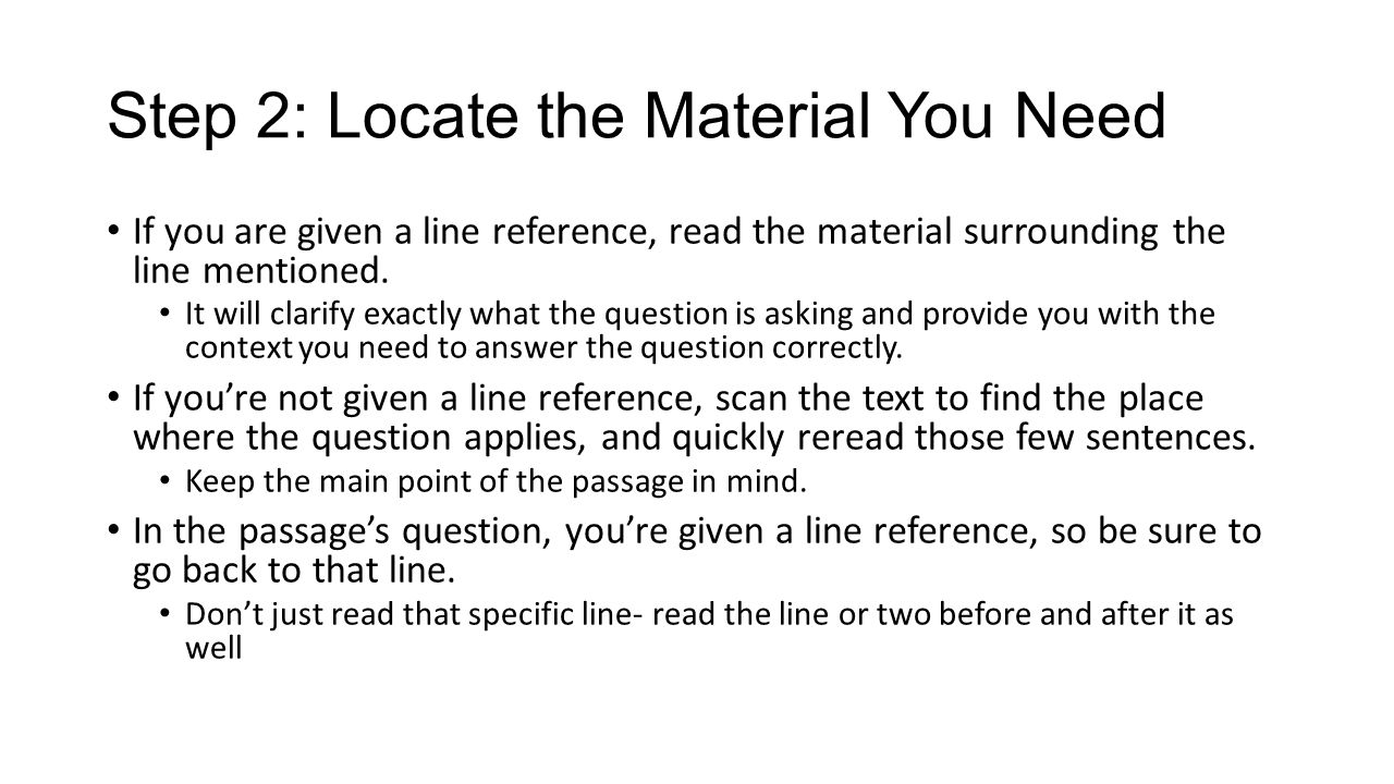 Step 2: Locate the Material You Need