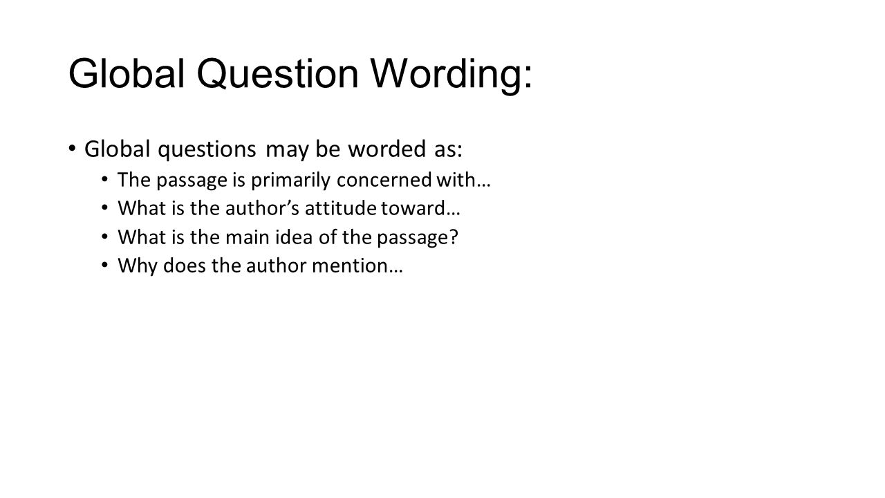 Global Question Wording: