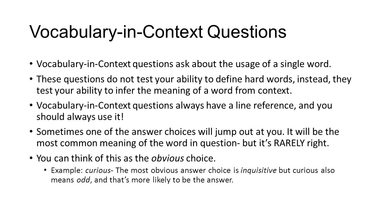 Vocabulary-in-Context Questions