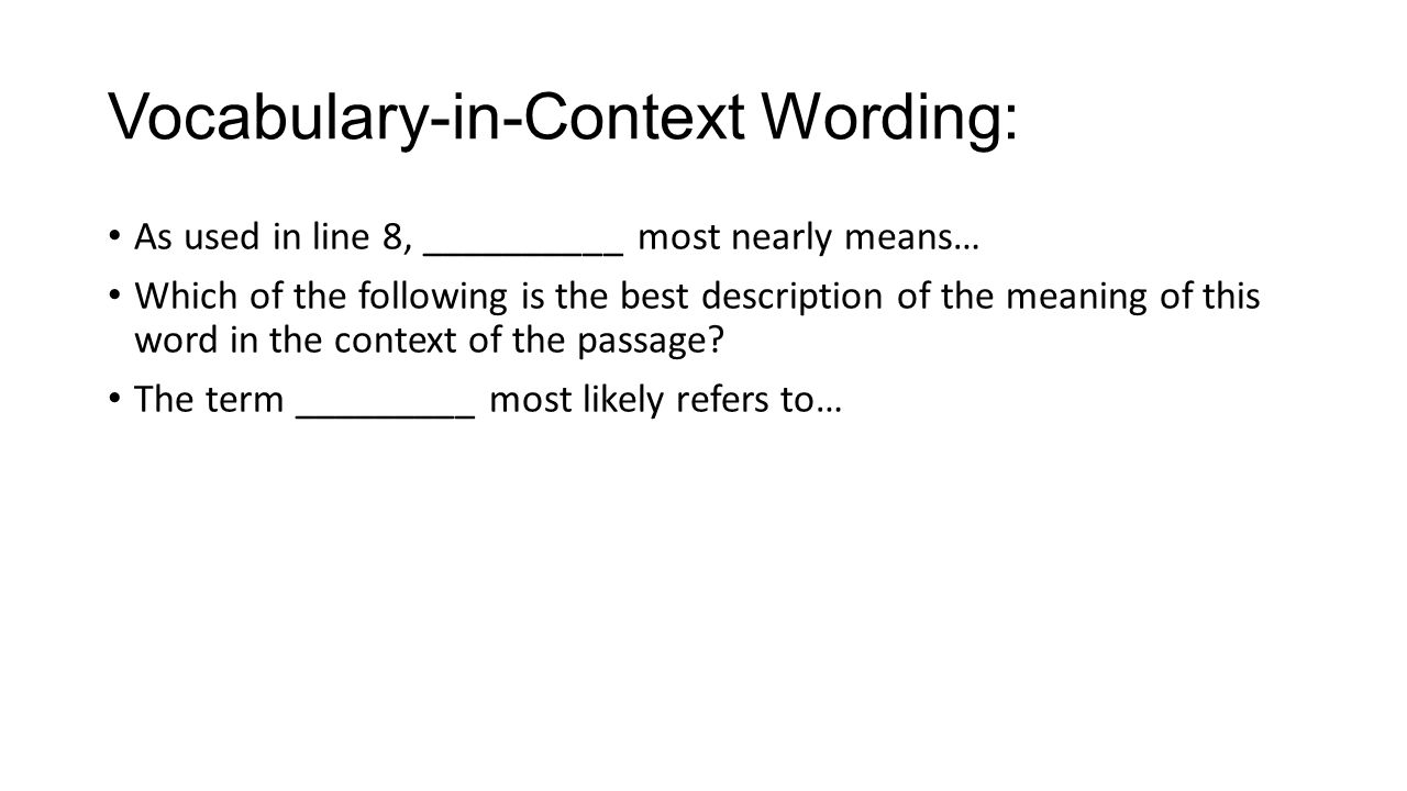 Vocabulary-in-Context Wording: