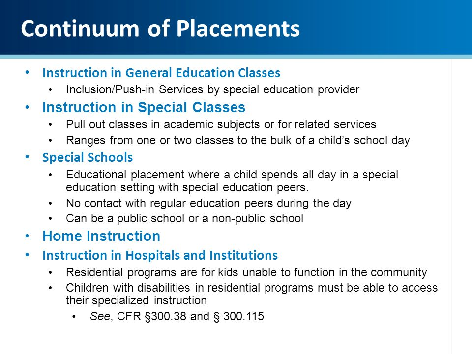 special education placement in public schools essay Student placement in elementary and secondary schools and section  or courses of special education only when this placement is  the public domain.