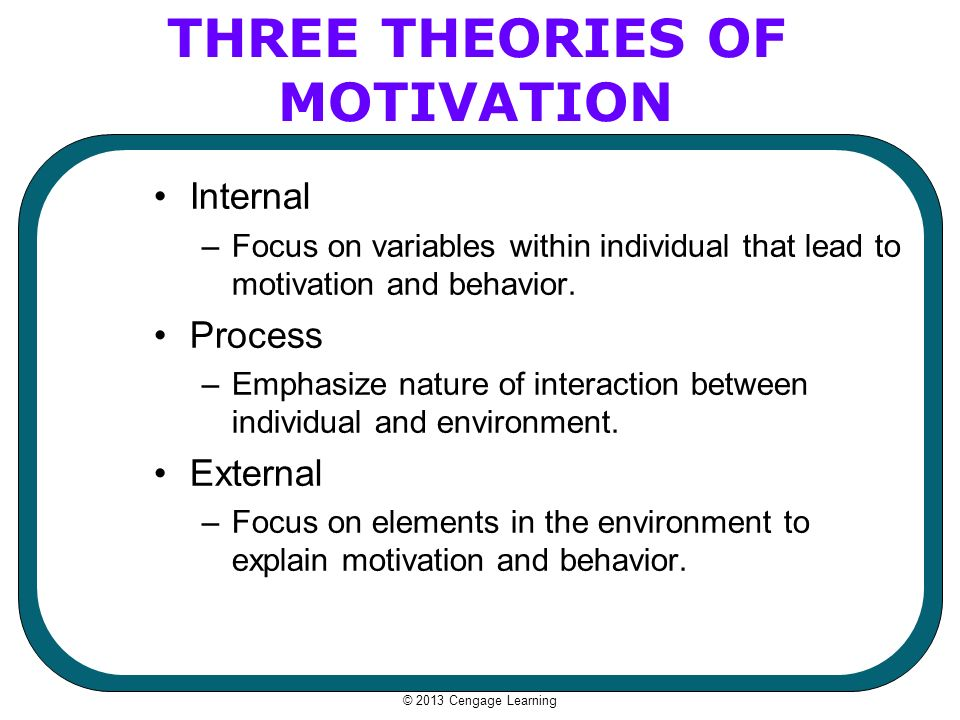 explaining the differences between content theories and process theories of motivation Week 3 difference between a content and process theory content theories focus on factors within the individual that lead to motivation the process theories focus on the dynamics of motivation & how the motivation process takes place.