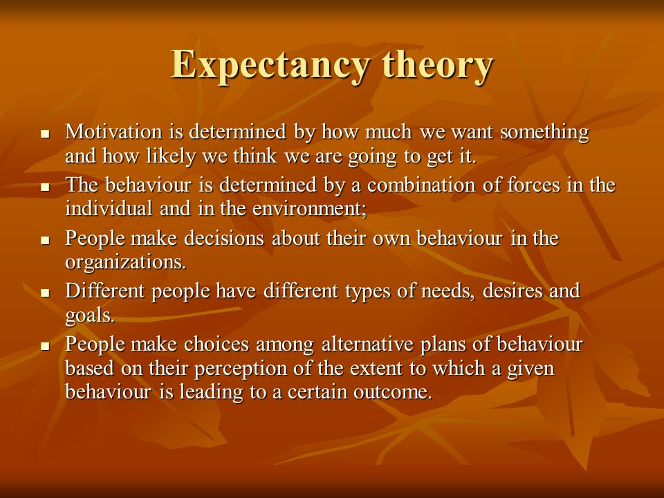 Expectancy theory Motivation is determined by how much we want something and how likely we think we are going to get it.