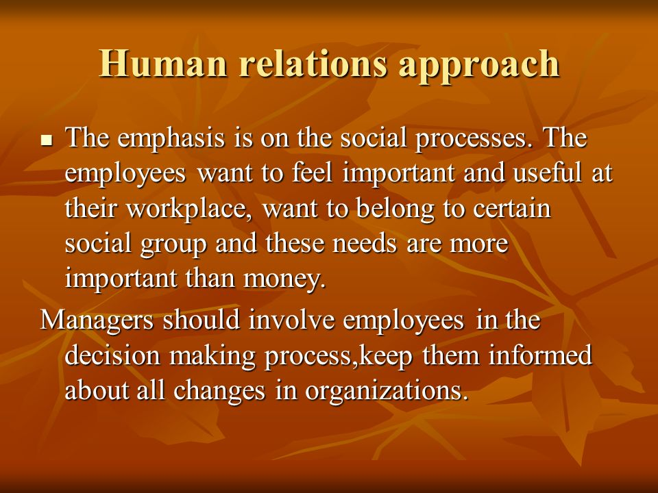 the need for an interdisciplinary approach in human relations 32 human relations theories please note a more human relations approach to that spawned the human relations movement, we first need to understand the basic.