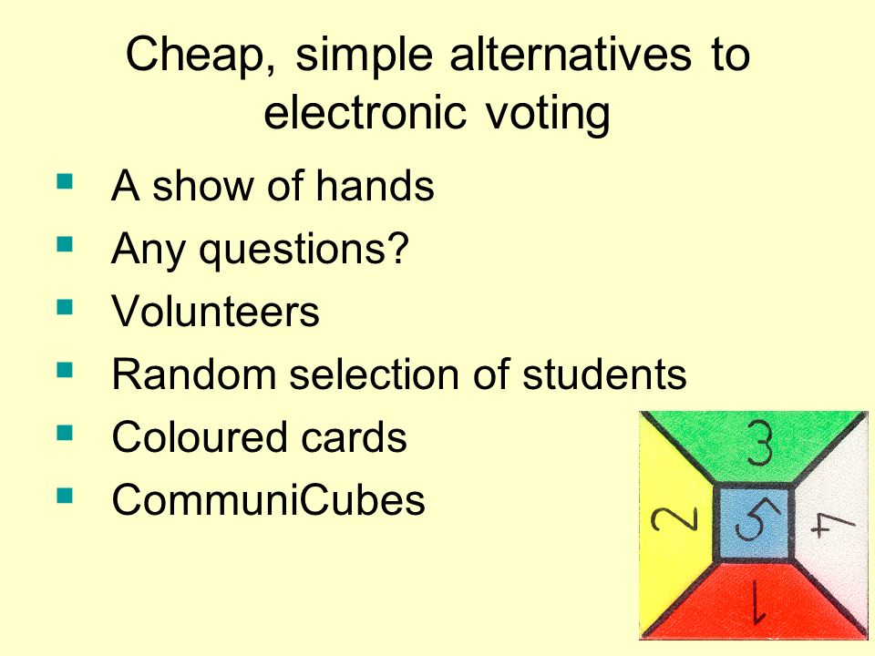 Cheap, simple alternatives to electronic voting