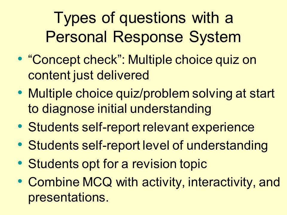 Types of questions with a Personal Response System