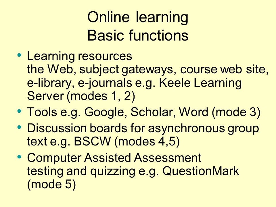 Online learning Basic functions