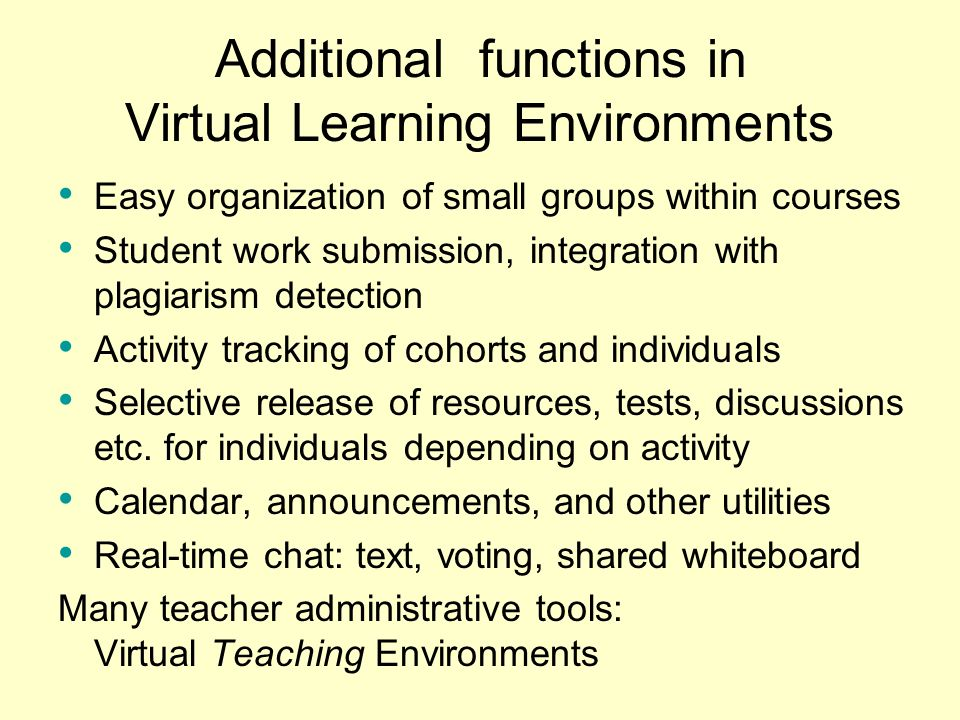 Additional functions in Virtual Learning Environments