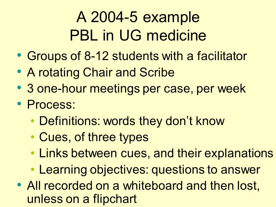 A example PBL in UG medicine