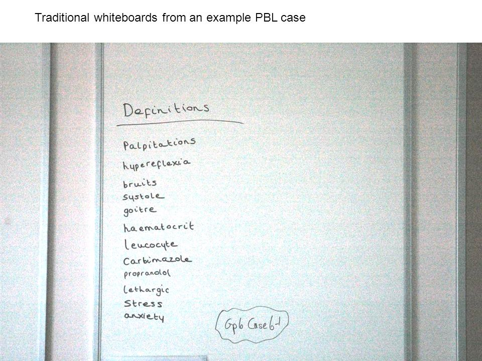 Traditional whiteboards from an example PBL case