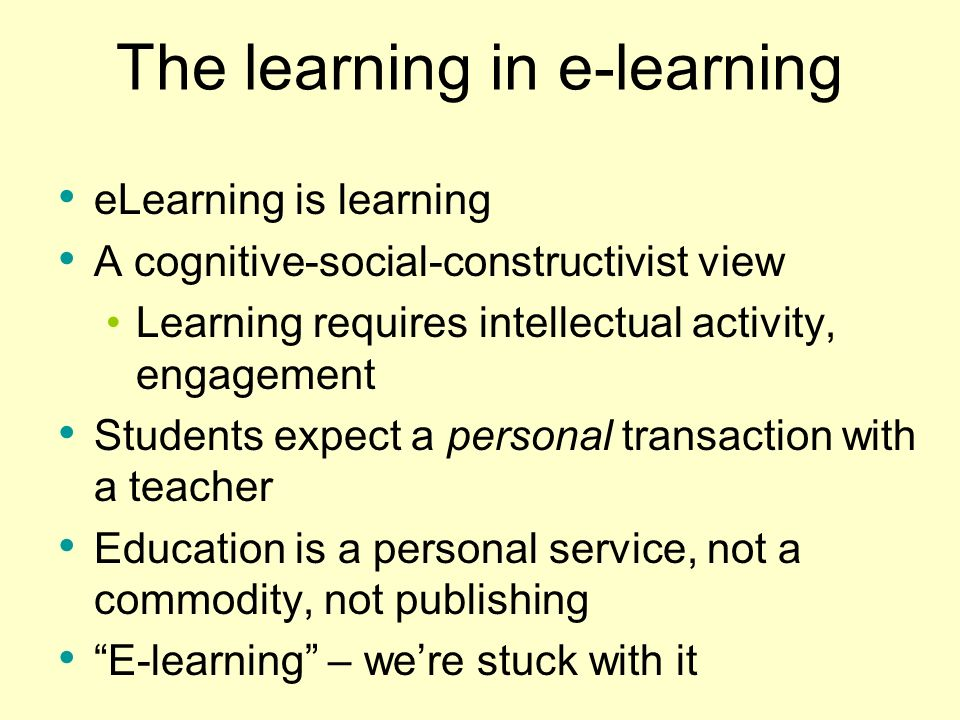 The learning in e-learning