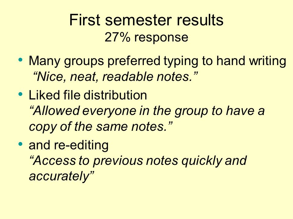 First semester results 27% response