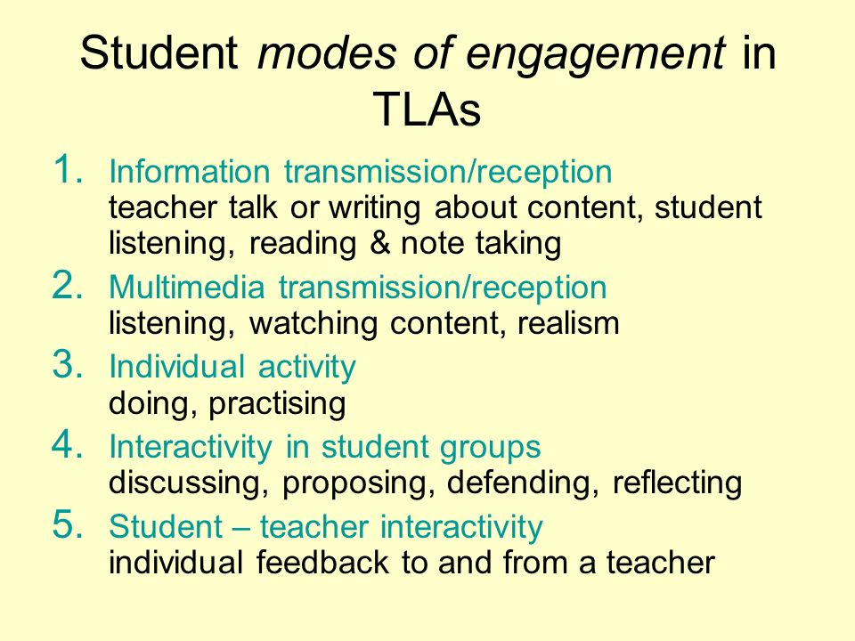 Student modes of engagement in TLAs