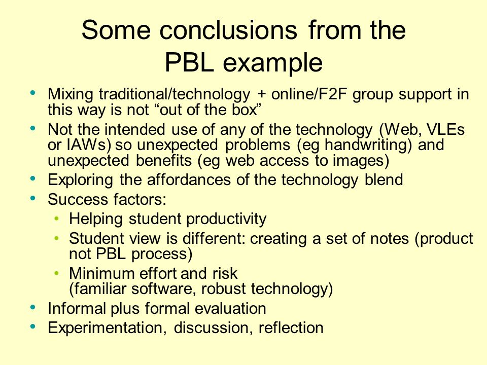 Some conclusions from the PBL example