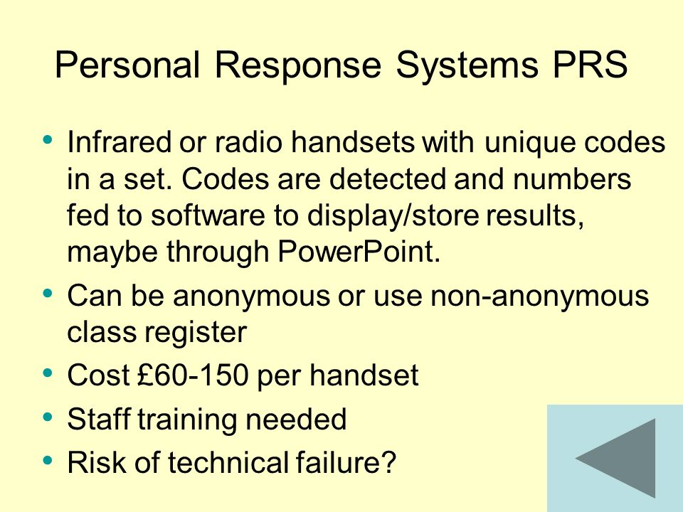 Personal Response Systems PRS