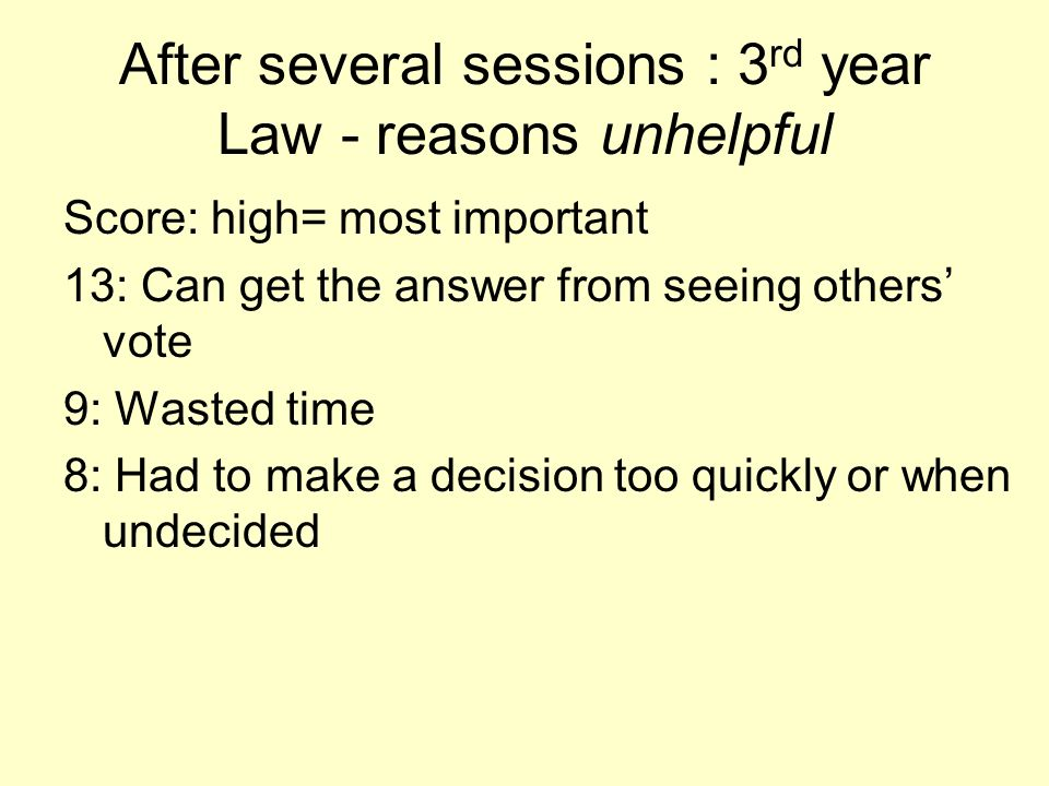 After several sessions : 3rd year Law - reasons unhelpful