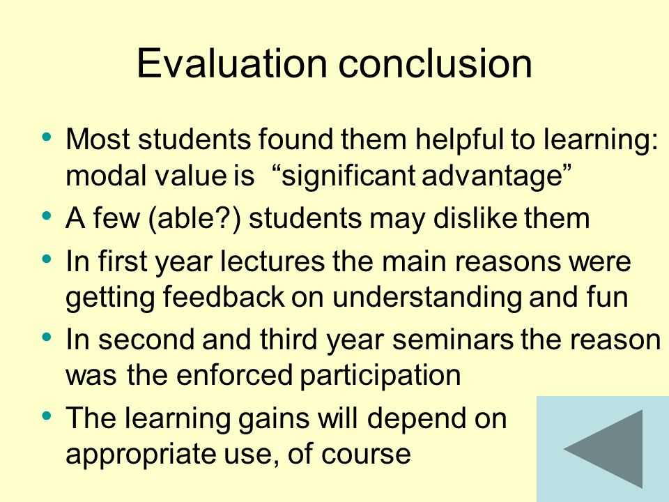 Evaluation conclusion