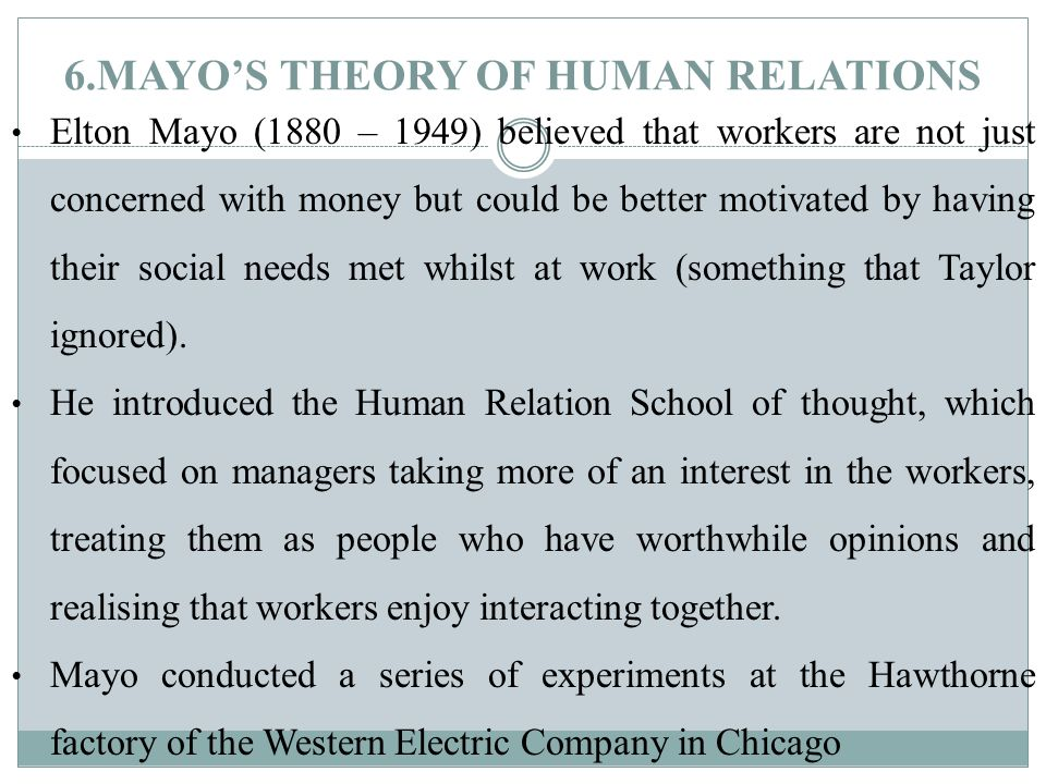 Elton Mayo's Human Relations Approach to Management