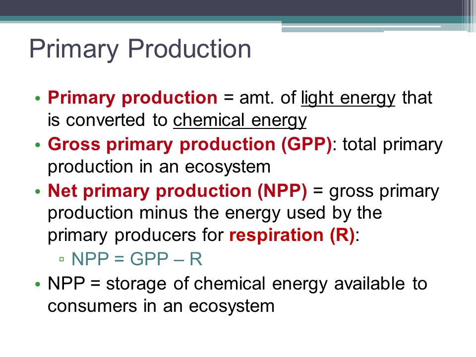 Primary Production Primary production = amt. of light energy that is converted to chemical energy.