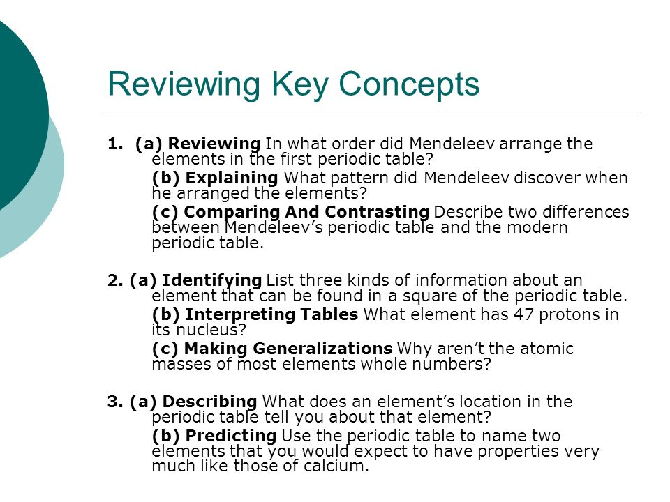 Organizing The Elements Ppt Download