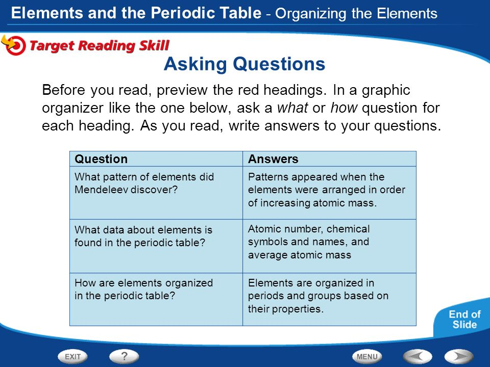 Table of contents introduction to atoms organizing the elements asking questions organizing the elements urtaz Images