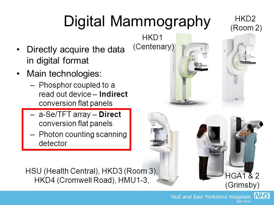 Digital Mammography Directly acquire the data in digital format