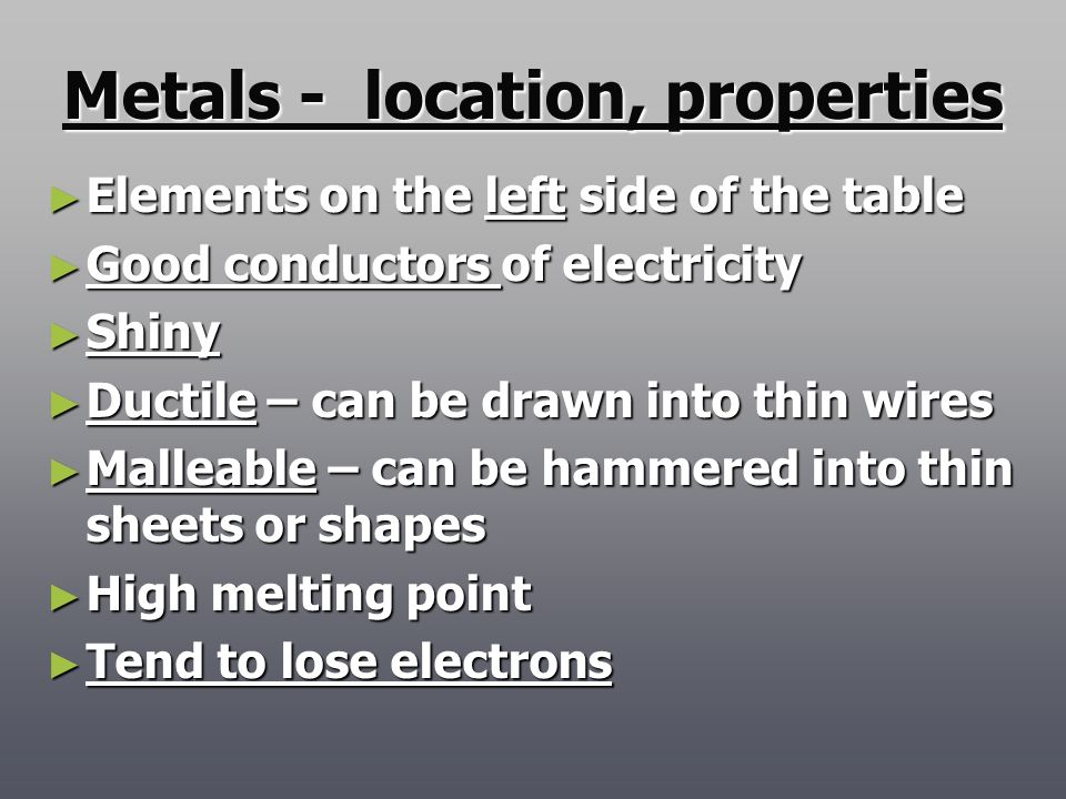 Metals - location, properties