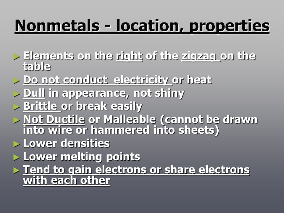 Nonmetals - location, properties
