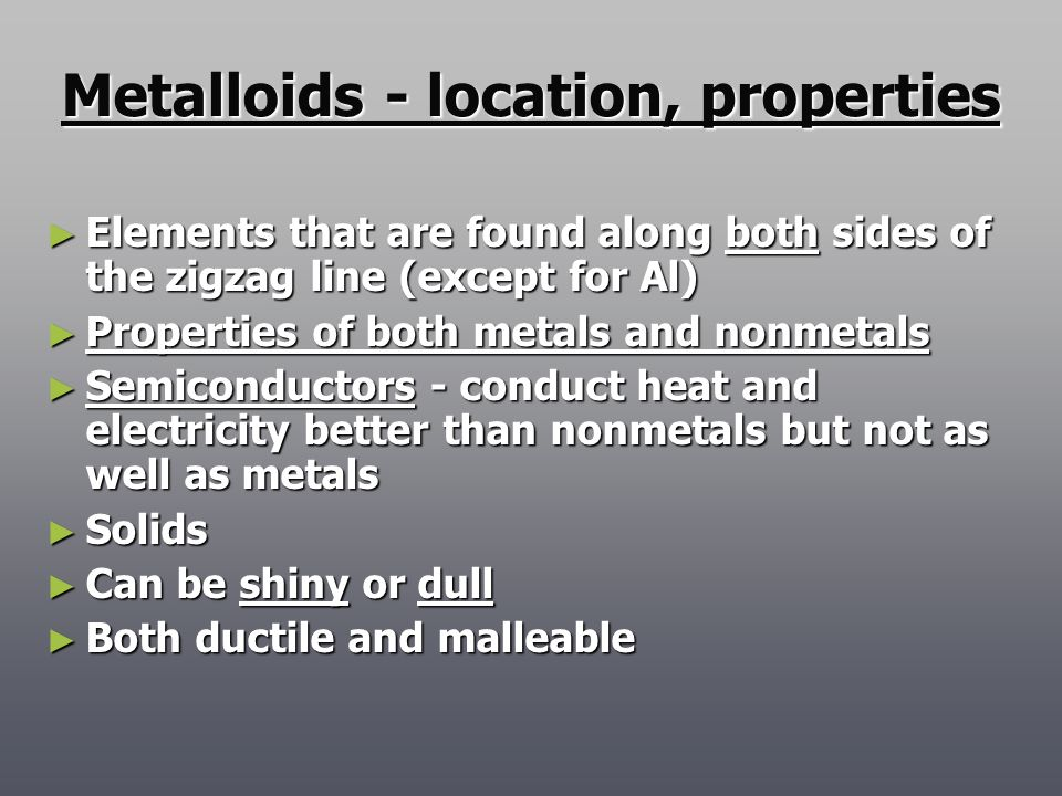 Metalloids - location, properties