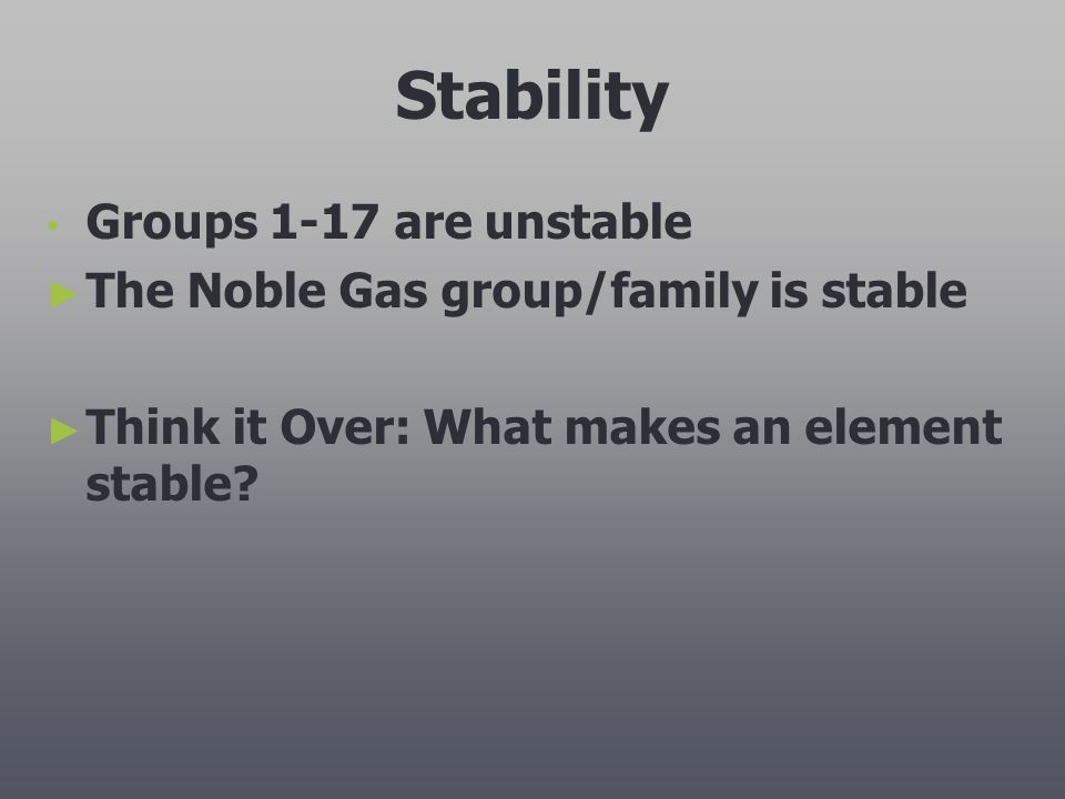 Stability Groups 1-17 are unstable