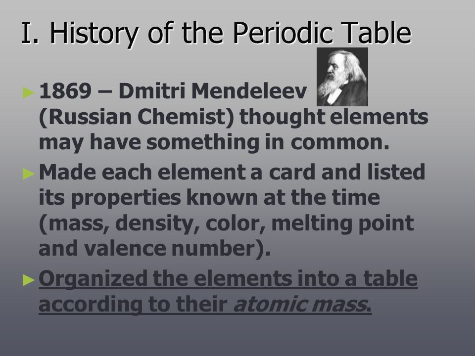 I. History of the Periodic Table
