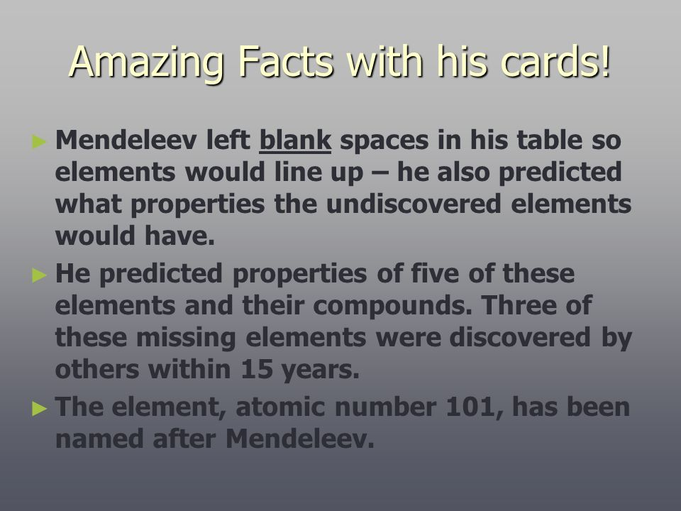 Amazing Facts with his cards!