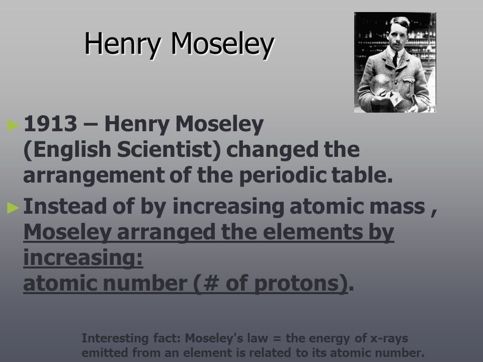 Henry Moseley 1913 – Henry Moseley (English Scientist) changed the arrangement of the periodic table.